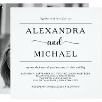 Simple Elegance | Black and White Photo Wedding Invitation