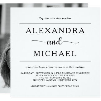 Simple Elegance | Black and White Photo Wedding Invitation