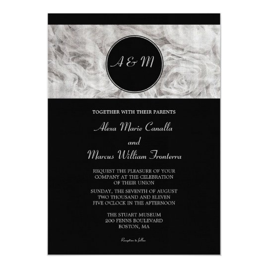 Simple Elegance Black And White Wedding Invitation
