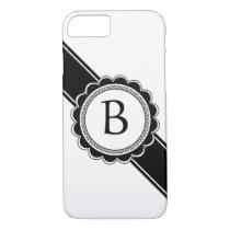Simple Elegance Chic Retro Monogram Custom Color iPhone 7 Case