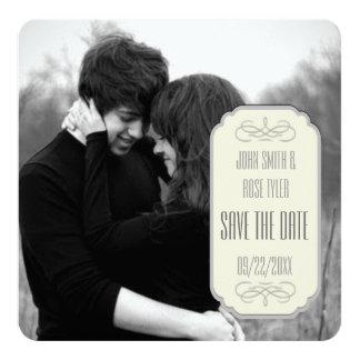 "Simple Elegance Custom Save the Date 5.25"" Square Invitation Card"