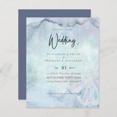 Simple Elegance Dusty Blue Modern Budget Wedding