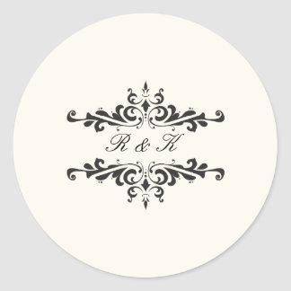 Simple Elegance Envelope Seal- Cream Classic Round Sticker