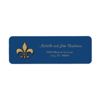 Simple Elegance Gold Blue Fleur de Lis Label