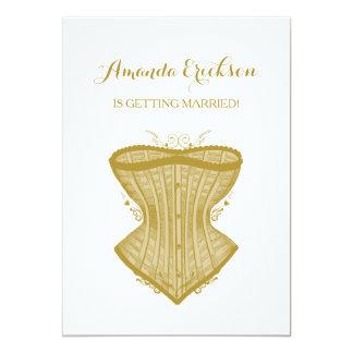 Simple Elegance Gold Corset Lingerie Bridal Shower Card