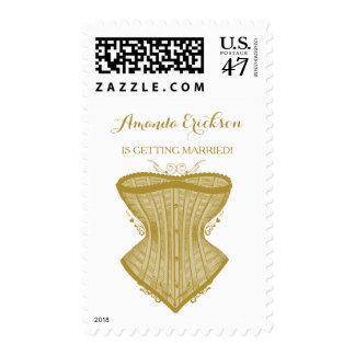 Simple Elegance Gold Corset Lingerie Bridal Shower Postage
