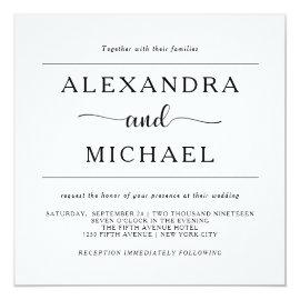 Simple Elegance | Minimal Black and White Wedding Card