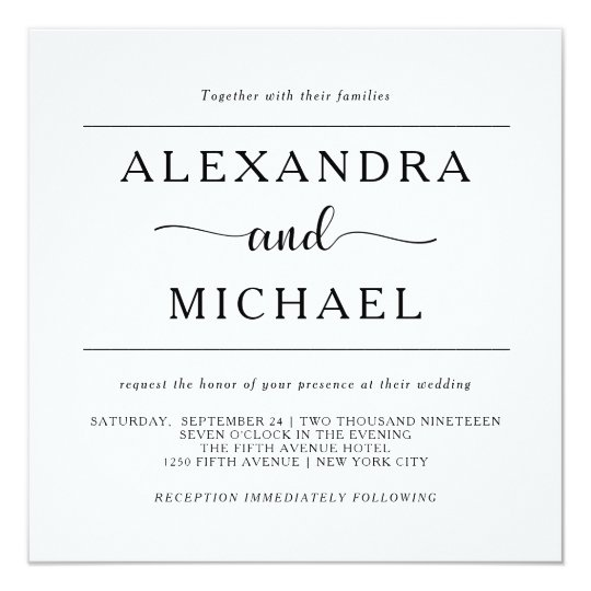 simple elegance minimal black and white wedding invitation