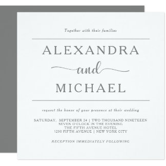 Simple Elegance | Minimal Gray and White Wedding Card