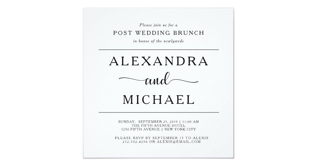 Post Wedding Brunch Invitation Wording: Minimalist Post Wedding Brunch