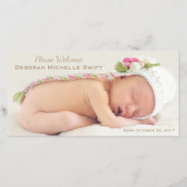Simple Elegance Photo Birth Announcement