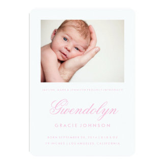 "Simple Elegance Photo Girl Birth Announcement Card 5"" X 7"" Invitation Card"