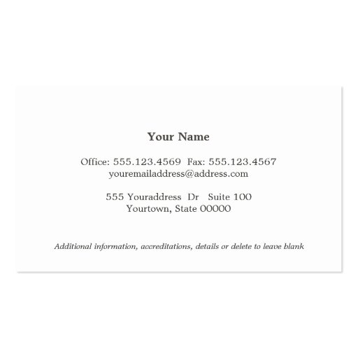 Simple Elegant Attorney Off White Business Card (back side)