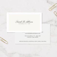 Simple Elegant Attorney Professional Cream Business Card at Zazzle
