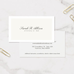 Sophisticated business cards templates zazzle simple elegant attorney professional cream business card colourmoves