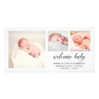 Simple Elegant Baby Birth Announcement | 3 Photos