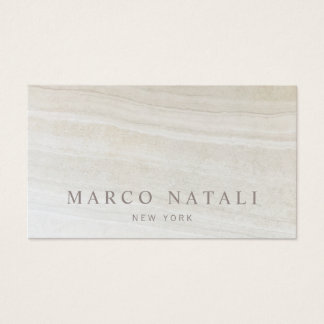 Simple Elegant Beige Marble Stone Business Card