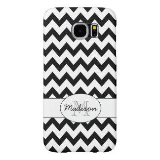 Simple Elegant Black and white Chevron Monogram Samsung Galaxy S6 Case