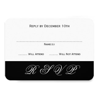 Simple Elegant Black and White Event Reply Cards