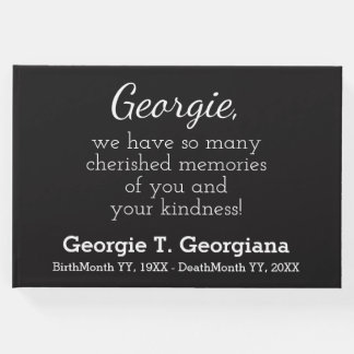 Simple, Elegant Black and White Funeral Guestbook