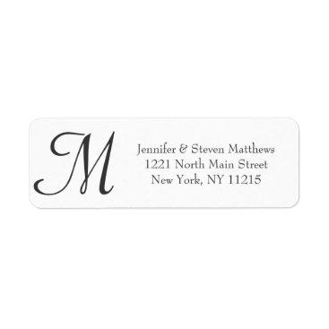 Simple Elegant Black and White Monogram Names Label