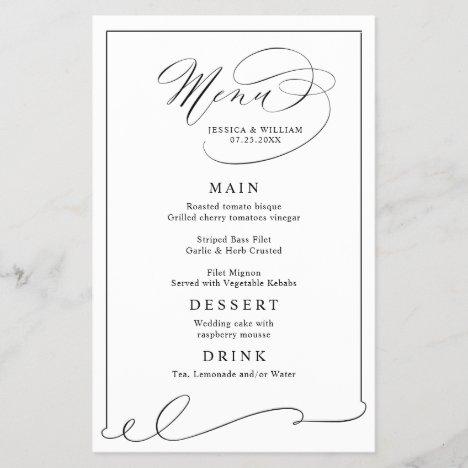 Simple Elegant Black And White Wedding Menu