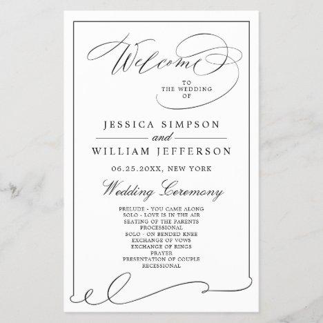 Simple Elegant Black And White Wedding Program