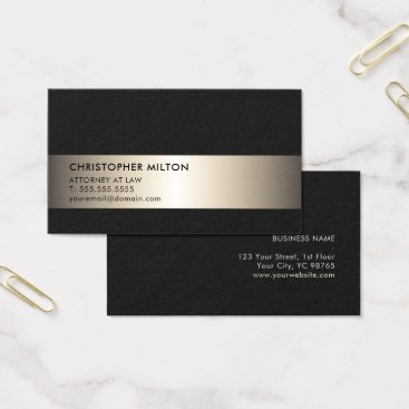 Lawyer Themed Simple Elegant Black Faux Metal Stripe Attorney Business Card