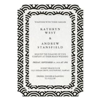 Simple Elegant Black+White Beach Wedding Card