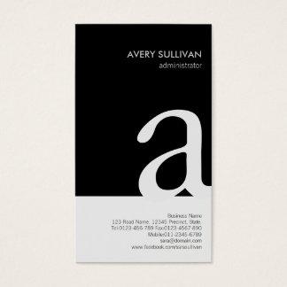 Simple Elegant Black White Monogram Business Card