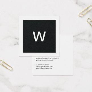 Simple Elegant Black White Monogram Consultant Square Business Card