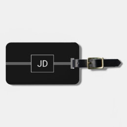 Simple Elegant Black White Monogram Luggage Tag