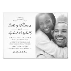 Simple Elegant Black & White Photo Wedding Invitation