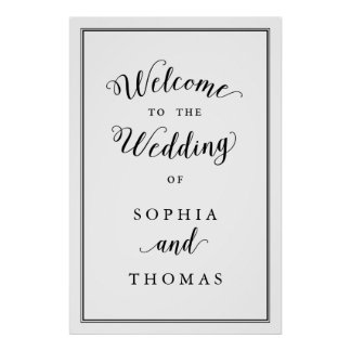 Simple Elegant Black White Welcome Wedding Poster
