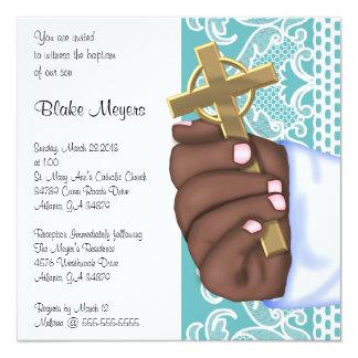 Simple Elegant Blue Cross Baptism/Christening Card
