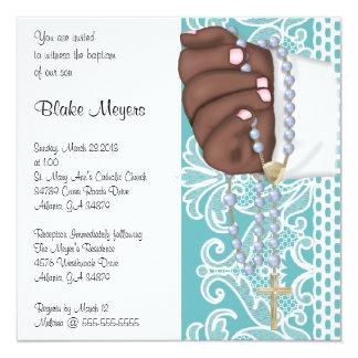 Simple Elegant Blue Rosary Baptism/Christening Card