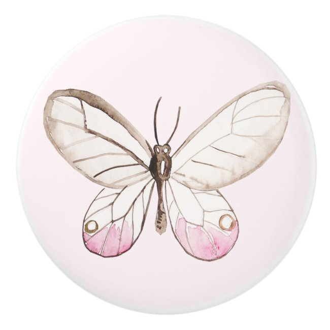 Simple & Elegant Blush Butterfly Ceramic Knob