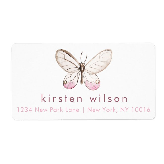 Simple & Elegant Blush Butterfly Shipping Labels
