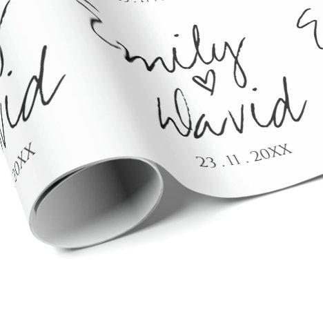 Simple Elegant Bride & Groom Names Wedding Wrapping Paper