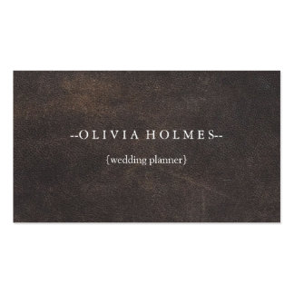 Simple Elegant Brown Leather Look Professional Business Card