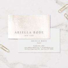 Simple Elegant Brushed White Marble Professional Business Card at Zazzle