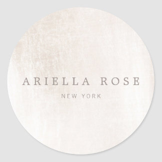 Simple Elegant Brushed White Marble Professional Classic Round Sticker