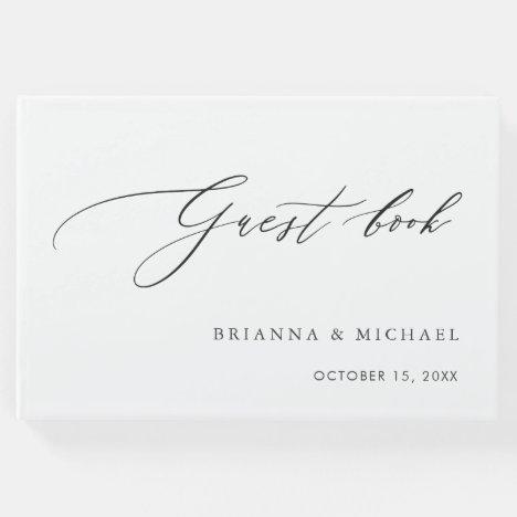 Simple Elegant Calligraphy Wedding Guest Book