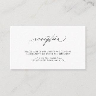 Simple Elegant Calligraphy Wedding Reception Enclosure Card