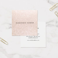 Simple Elegant Champagne Glitter Beauty Stylist Square Business Card