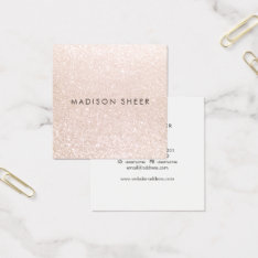 Simple Elegant Champagne Glitter Beauty Stylist Square Business Card at Zazzle