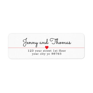 Simple Elegant Clean Heart Line Wedding Label