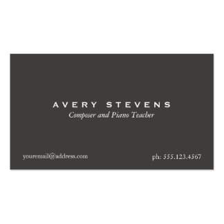 Simple Elegant Composer and Music Teacher Black Double-Sided Standard Business Cards (Pack Of 100)