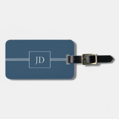 Simple Elegant Dark Blue Monogram Luggage Tag at Zazzle