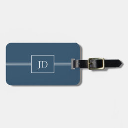 Simple Elegant Dark Blue Monogram Luggage Tag